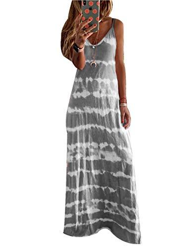 Vestidos Largo de Mujer Casual, Morbuy Tie-Dye Verano Playa Elegante Fiesta sin MangasMidi Vestido Flojo Cuello En V Talla Grandes Vestidos (XL,Gris)