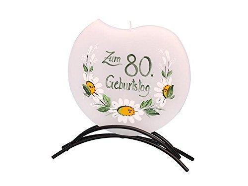 Dekohelden24 Hochwertige Flachkerze, mit Motiv - 80. Geburtstag -, 16 x 16 cm