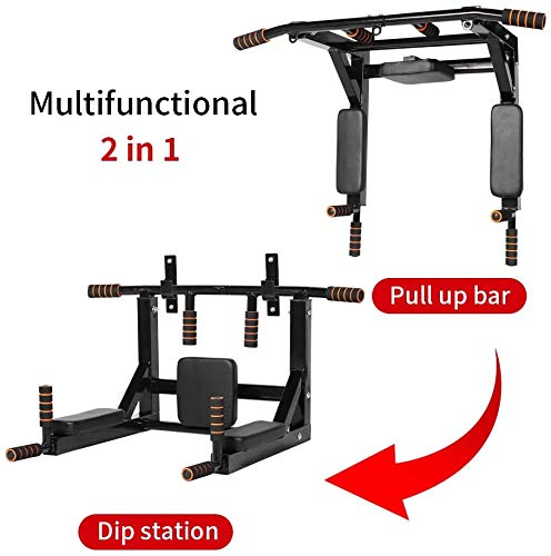 Product Image 3: ANTOPY Wall Mounted Pull Up Bar Dip Station 2 in 1 Multifunctional Home Gym Workout Equipment Multi Grip Heavy Duty Chin-Up Fitness for Strength Training Supports to 440lbs