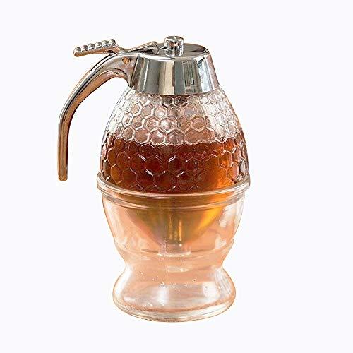 Asentechuk® Miel et distributeur de sirop, Abeille d'égouttement Bouteille Bocal Acrylique Flacon 200 ml