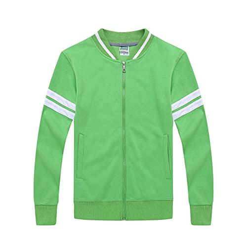 SUUUK Sudadera unisex con cuello alto a rayas casual sudadera linda suelta cremallera casual chaqueta, verde, M
