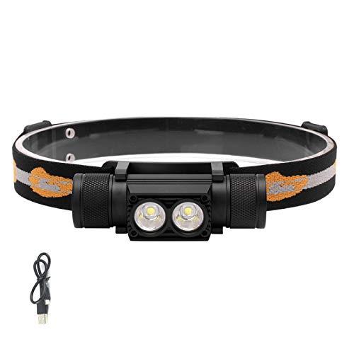 Linterna frontal D25 Dual XM-L2 LED Mini linterna frontal 6 modos 5000LM potente faro recargable 18650 linterna frontal para camping, caza, luz amarilla