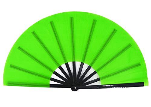 meifan Large Chinese Kung Fu Tai Chi Hand Fan for Men/Women, Hand Held Dance Folding Fans, Gift Fan, Performance Fan (Green)