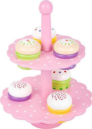 """small foot 3309 Etagere """"Muffins"""" aus buntem Holz, sechs Küchlein und Ständer für die Spielküche, ab 3 Jahren"""