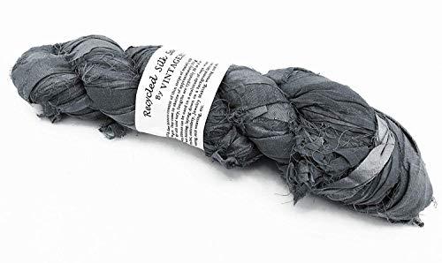 100g Recycled Sari Silk Ribbon Garn, Schmuck machen Trim - Grau