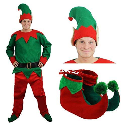 ELF Costum jul fANCY klänning chEEKY ELF top + byxor + bälte + hatt + deLuxe POM ELF SHOES - XSMALL