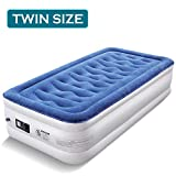 Air Mattress with Built-in Pump, TREBLEWIND Upgraded Twin Air Mattress Double High Blow Up Airbed, Inflatable Air Mattress Twin for Guest Use with Flocked Top, 80 x 40 x 18 inches, 5-Year Guarantee