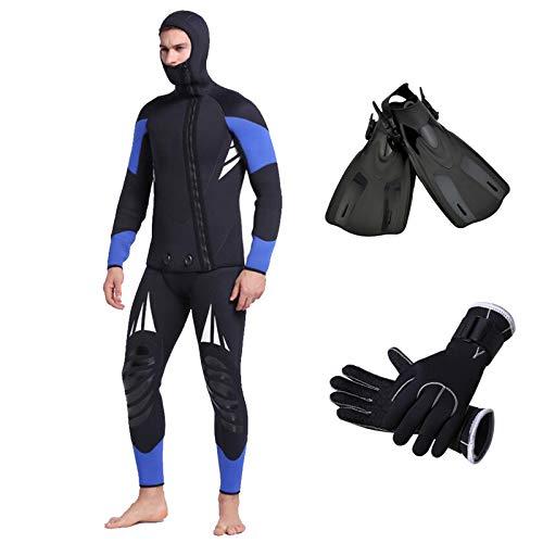 HUOFEIKE Traje de neopreno para hombre, de dos piezas, ropa de surf para hombre, 5 mm, traje de buceo, manga larga, cremallera, traje corto, para buceo, snorkel, surf, kayak, natación, talla XL