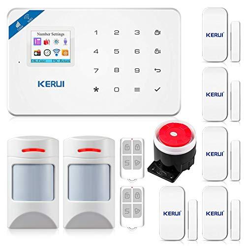 KERUI W18 WiFi GSM Alarmanlage Komplettsystem Haus Sicherheit Einbruchschutz DIY Kit mit Auto Dial/SMS/RFID/iOS Android/App-Steuerung Push Deutschsprachiges (W18 KITTT)