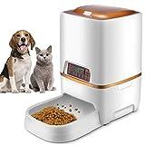 Sailnovo Dispensador Automático 6L de 4 Comidas Diarias para Mascotas Perros y Gatos, Comedero Automático con Grabación de Voz, Temporizador, Detección de Infrarrojos, Consumo de Energía Bajo