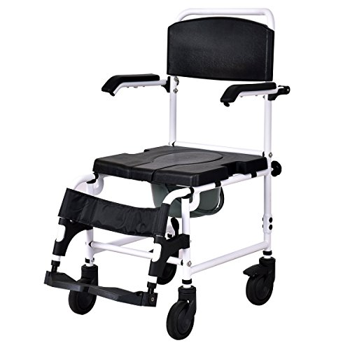 """Giantex Shower Wheelchair Over Toilet with Commode Lift Arms Bathroom Sturdy Aluminum Frame PU Leather Padded Seat Backrest Fast-Remove Legrest Footrest Patient Wheelchairs w/ 5"""" Locking Caster, Black"""