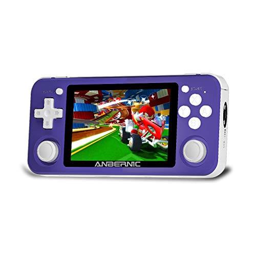 Consolas de Juegos Portátil RG351P, consola de juegos retro Sistema de código abierto RK3326 Chip con tarjeta TF de 64G 2500 Juegos clásicos Pantalla IPS de 3,5 pulgadas Batería de 3500 mAh (Púrpura)
