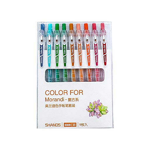 Morandi Colored Gel Ink Pens Retractable 0.5mm Fine Point Assorted Colors for Bullet Journal/To Do List/Making Notes/Art Painting, Pack of 9 (Vintage Style)