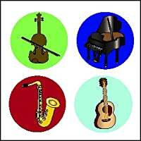 Musical Instruments Incentiveステッカー–パックof 1728