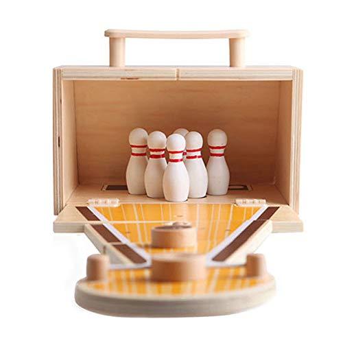 Juego de bolas de Bowling, juego de juguetes de Bowling de escritorio plegable, juguete de madera para interior