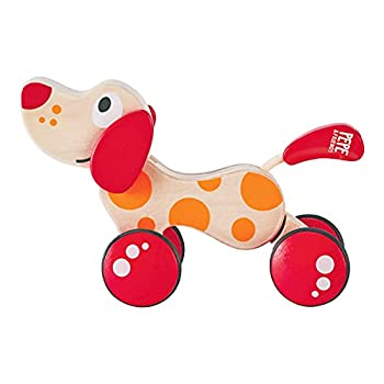 Walk-A-Long Puppy Wooden Pull Toy by Hape | Award Winning Push Pull Toy Puppy For Toddlers Can Sit Stand and Roll Rubber Rimmed Wheels for Easy Push and Pull Action Red  Red/Orange