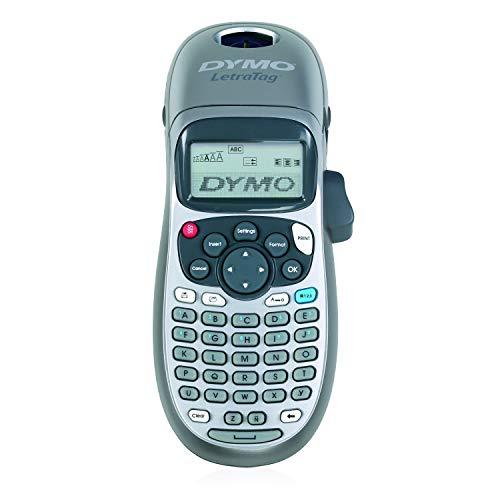 DYMO LetraTag LT-100H Beschriftungsgerät Handgerät | Tragbares Etikettendrucker mit ABC Tastatur | Ideal fürs Büro oder zu Hause - für Schriftband LT 12mm - Silver Limited Edition inkl. 4 AA-Batterien