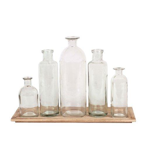 Creative Co-Op DA2672 Set of 5 Vintage Bottle Vases on Wood Tray