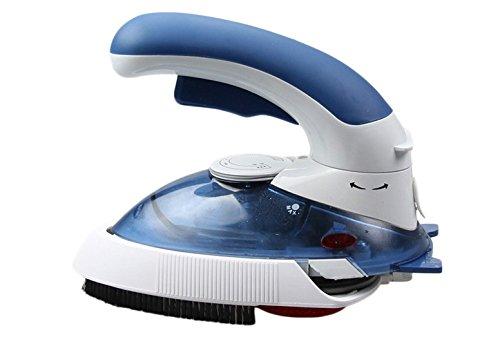 Vanra(TM) Plancha de vapor portátil, plancha en seco, 800W con mango giratorio, fusible integrado y termostato, control de temperatura ajustable, luz indicadora, Azul, 1