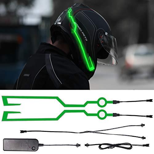 Biqing 2Pcs Luz para Casco de Motocicleta, LED Luz de señal nocturna Raya intermitente Casco de moto Kit de luz de casco LED para conducción nocturna Impermeable (Verde)