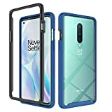 Phone Case for OnePlus 8 OnePlus8 5G Tmobile with Tempered Glass Screen Protector Cover and Stand Kickstand Hard Rugged Hybrid Cell Accessories One Plus8 On 1 Plus 1plus One+ 1+ 1+8 Cases Black Blue