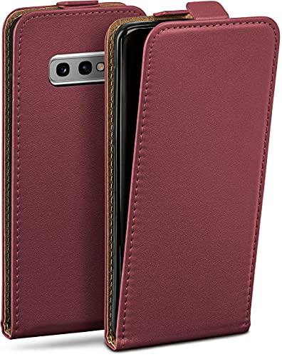 moex Flip Hülle für Samsung Galaxy S10e - Hülle klappbar, 360 Grad Klapphülle aus Vegan Leder, Handytasche mit vertikaler Klappe, magnetisch - Weinrot