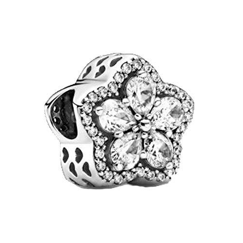 LILANG Pandora 925 Schmuck Armband natürliche Winter Sterling Silber Perlen Funkelnde Schneeflocke Pavé Charme Weihnachten Frauen DIY Geschenk