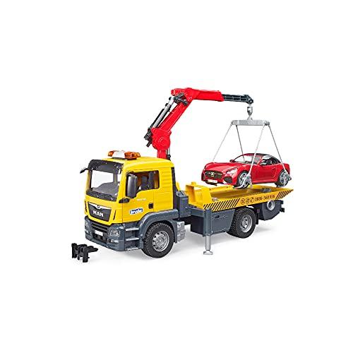 Bruder 03750 - MAN TGS Abschlepp-LKW mit Roadster und Licht und Sound Modul