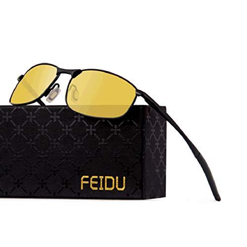 FEIDU Sportbrille Sonnenbrille Herren Polarisierte-HD Lens Metal Frame Driving Shades FD 9005 (nachtsichtbrille002, 57)