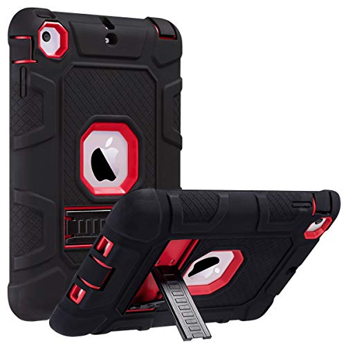 ULAK iPad Mini Case, iPad Mini 2 Case, iPad Mini 3 Case, iPad Mini Retina Case, Three Layer Heavy Duty Shockproof Protective Case for iPad Mini, iPad Mini 2, iPad Mini 3 with Kickstand (Red/Black)