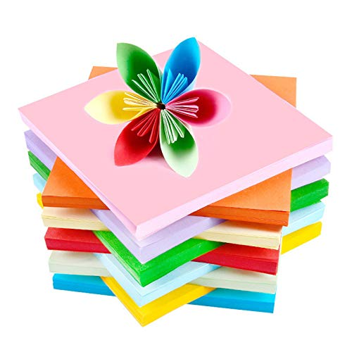 YUNSTK Papel para origami, 15 x 15, 200 hojas, papel plegable de doble cara, multicolor, para niños y adultos, libro de origami, 10 colores para manualidades y decoración