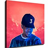 HXX Coloring Book,Chance The Rapper Poster Wall Art Home Wall Decorations for Bedroom Living Room Oil Paintings Canvas Prints -41 (24x24inch,Framed)