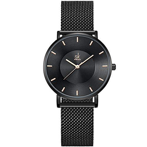 SHENGKE- Reloj de Pulsera para Mujer, Correa de Malla, Elegante, para Mujer, Estilo Simplicidad (K0059-black-mesh Band)
