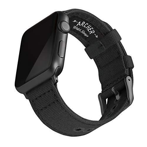 Archer Watch Straps - Canvas-Uhrenarmband kompatibel mit Apple Watch (Schwarz, Space Grau, 42/44mm)