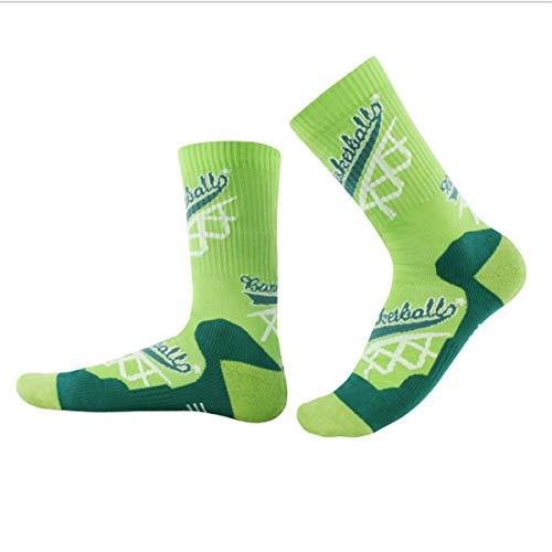 Calcetines deportivos para hombre 3 pares unisex de algodón antideslizante para baloncesto, bicicleta, trekking, funcional y transpirable, verde, S / M: 38-41-Code