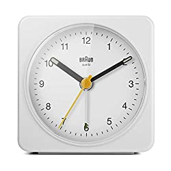 Braun Classic Analogue Alarm Clock with Snooze and Light, Quiet Quartz Sweeping Movement, Crescendo Beep Alarm in White, Model BC03W.