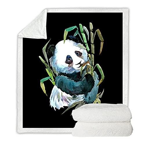 Microfibra Sofá de La Manta Panda de Bambú Verde Y Negro 3D Manta Estampado Caliente Suave para Ropa de Cama, Sofá, Camping, Viajar Mantas 76X100Cm