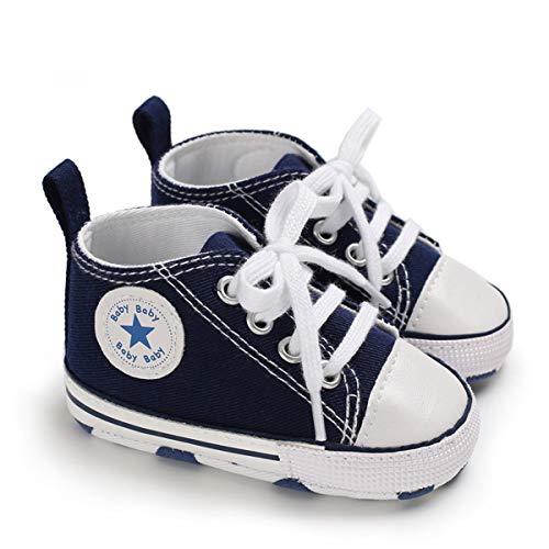 DEBAIJIA Lauflernschuhe Baby Segeltuchschuhe 12-18M Kinder Turnschuhe Jungen Leichtes Leinen Schuhe Mädchen Weiche Sohle 20 EU Blau (Etikettengröße 3)