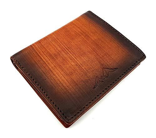 Watzmann echt Leder Geldbörse hoch, geschmeidiges Rindsleder Portemonnaie Wood Holzoptik, S, Cognac