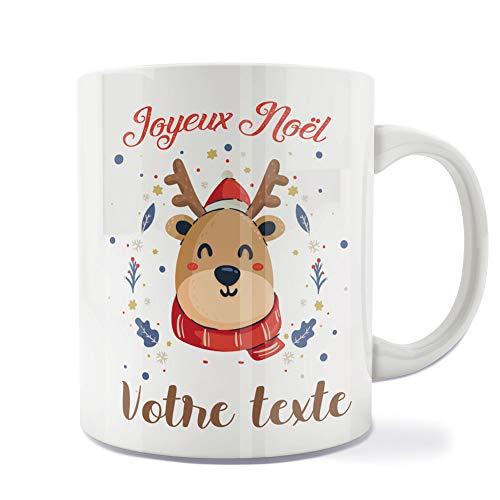Mug | Tasse | Café | Thé | Petit-déjeuner | Vaisselle | Céramique | Original | Imprimé | Message | Fêtes | Idée cadeau | Renne de Noël - Joyeux Noël Personnalisé