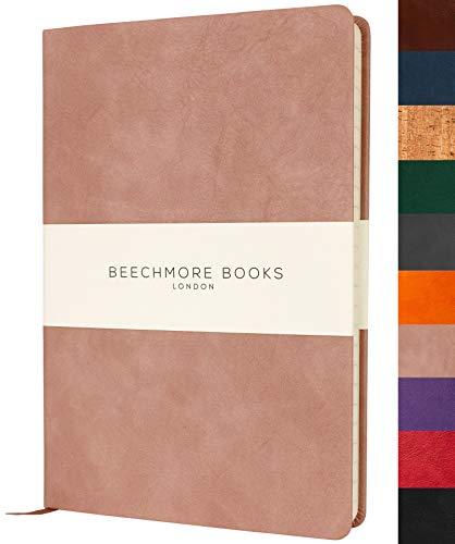 Liniertes Notizbuch - Premium A5 Journal von Beechmore Books   Festeinband aus veganem Leder, Dicke: 120 g/qm cremefarbenes Papier, Notizbuch in der Geschenkbox, 21 x 15 cm Rosa