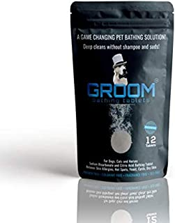 GROOM Pet Bathing Tablets for Dogs, Cats & Horses. pH Natural Shampoo & Odor Eliminator   pH Balanced Body Wash   Hypoallergenic, Dry Skin and Coat Safe (12-Count) by Groom