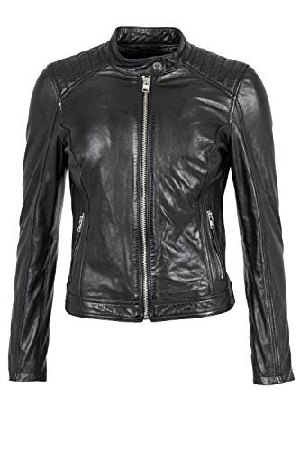Bull&Berry Diana Schwarz Lederjacke Echtleder Damenjacke Lammlederjacke Größen wählbar Damen Leder Jacken Bikerjacke Lederjacke Frauen Motorradjacke Übergangsjacke Oberbekleidung (M)