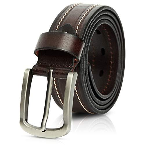 DORRISO Cinturón Hombre de Cuero 100% Cuero Genuino Cinturones para Jeans Casual