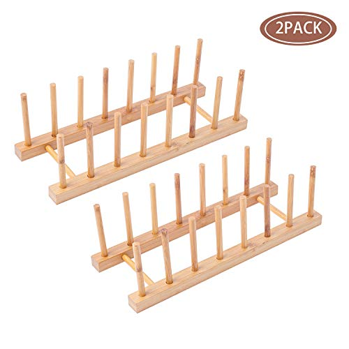 2Pack Bamboo Wooden Dish Rack, Plate Rack Stand Pot Lid Holder, Kitchen Cabinet Organizer for Cup, Cutting Board, Bowl, Drying Rack and more