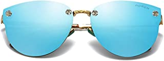 Fashion Black/Pink/Blue/Purple/Orange Red Men and Women with Large Frame Sunglasses Trend Color Film Metal Material Fashion Wild Sunglasses Retro (Color : Blue)