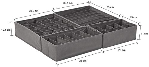 Solimo 4 Piece Fabric Drawer Dividers, Grey