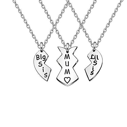 3 PCS Necklace for Women Girl Silver Matching Hearts Necklace for Mum...