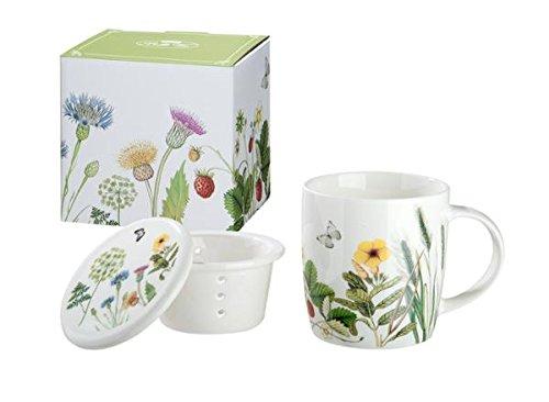 Gilde Tasse en pocelaine et passoire à thé avec des fleurs et Papillon décor Wild Flowers