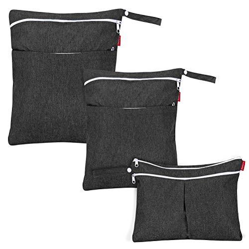 Damero 3 Pcs Wetbag für Stoffwindeln, Baby Windeltasche mit 2 Reißverschlusstaschen, Nasstasche für Babywindeln, ideal für Reisen, Strand, Pool, Sporttasche, Schwarz. (NUR MIT TASCHE), Schwarz